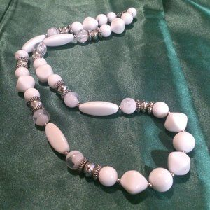 Vintage White Plastic Silver Tone Beaded Necklace